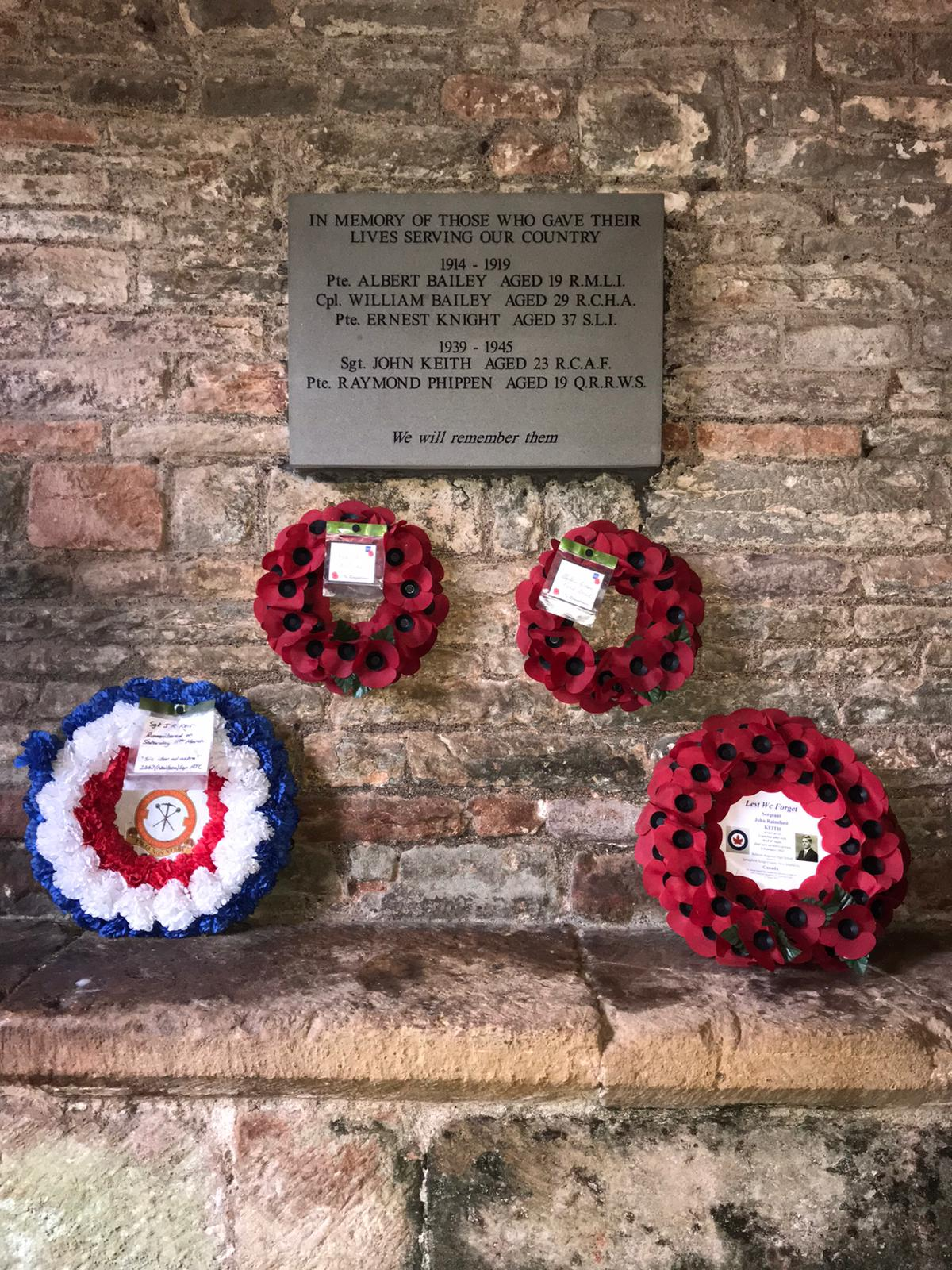 Remembrance wreaths laid at the War Memorial Plaque 2020